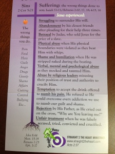 Here is a list of some of the experiences Jesus went through (from the prayer card used during Straight 2 the Heart prayer sessions).